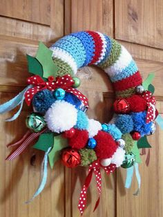 Julia Crossland's wreath, which was inspired by a crocheted wreath made by Lucy of Attic24 (see it here http://attic24.typepad.com/weblog/2012/12/christmas-wreath-ta-dah.html)
