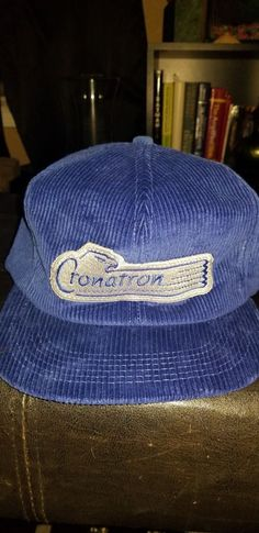 VINTAGE Cronatron Eagle Logo BLUE CORDUROY SNAPBACK HAT 80s 90s Made in the  USA  fashion 7e8da216cba0