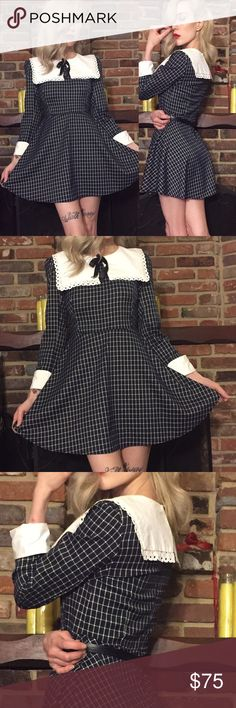 """Kawaii dark sailor Lolita dress Purchased from Shibuya99 in Tokyo, black dress w/grid pattern, 3/4 sleeves+white cuffs, oversized sailor collar w/lace edges, ribbon bow tie. gently worn a handful of times- still like new. Fabric has stretch, hidden back zip. Waist was a little big for me (probably 27"""" around but will double check/measure tonight) but looks great w/ white or black waist belt. Wore it once with a wide red belt and it was super cute. Sorry, belt not included. Japanese """"one size…"""
