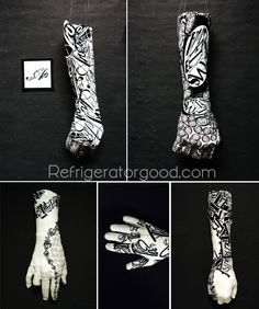 George Segal Inpsired Hand Casts // Typography   Sculpture Lesson - interesting twist on our hand sculpture - integrating 2-D design work on 3-D surface