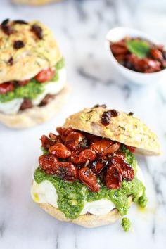 Pesto Protobella Mushroom or Chicken Burgers with Marinated Roasted Tomatoes | halfbakedharvest.com
