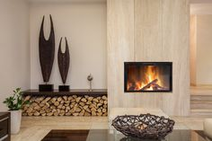 Tremendous Built In Fireplace Modern Design Image Collection: Lovely Gas Built In Fireplace With Wooden Wall Panels As Well As Artwork On Built In Shelves And Log Wood Base Decor In Modern Living Room Furnishing Ideas Fireplace Modern Design, Living Room Furnishings, Wooden Wall Panels, Wood Fireplace, Fireplace Design, Modern Design, Contemporary Decor, Contemporary Fireplace Designs, Modern Fireplace