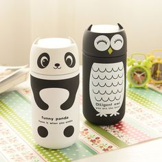 Cute Panda & Owl thermos 220ml Stainless Steel Vacuum Cup light and portable…