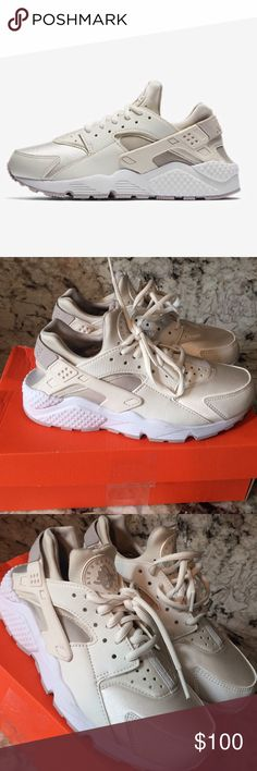 Nike huaraches Brand new in box, never worn. 💕Cream color, very cute. Sadly too small for me. great addition to any closet‼️ TRUE TO SIZE Nike Shoes