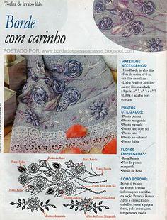 BORDADOS PASSO A PASSO DE ROSAS RAIADAS COM FITAS
