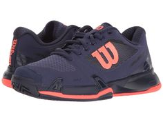 Wilson - Rush Pro 2.5 (Astral Aura/Evening Blue/Fiery Coal) Women's Tennis Shoes - Shoes Features ✅ Hone your competitive edge with the Rush Pro 2.5 tennis shoe. ; Lightweight mesh upper reinforced by 3D-F.S. technology provides breathability, stability,