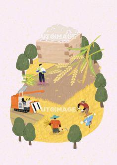 수확 013 SPAI380, 유토이미지, 일러스트, 생활, 수확, 농산물, 농수산물, 농사, 농업, 신선한, 직업, 농부, 농장, 자연, 오브젝트, 배경, 사람, 남자, 어른, 성인, 3인, 서있는, 들고있는, 일하는, 쌀, 벼, 볏단, 식물, 나무, 논, 논밭, 허수아비, 낫, 농기구, 트렉터, 흙, 됫박, 행복, 미소, 재배, 작물, 농작물, 야채, 채소, 곡물, 가을, 계절, 협동, 협업, 동료, 음식 Korean Illustration, Graphic Design Illustration, Illustration Art, Illustration Techniques, Cute Poster, Modern Graphic Design, Illustrations And Posters, Botanical Art, Retro