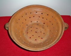 "Antique 19th C Primitive Redware Handled Colander Strainer 15"" Excellent RARE 