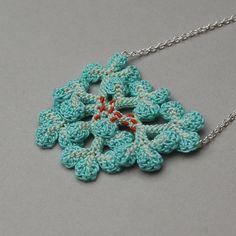 Crochet lichen necklace freeform crochet faux lichen by elinart