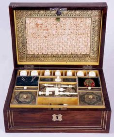 Antique Regency Fully Fitted Sewing  box with ivory tools circa 1820