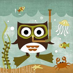 66 Owl Scuba (Lee ArtHaus) Tags: ocean fish nature jellyfish crab scuba snorkling scubadiving childrenart owlart nurseryart retroowls leeart...