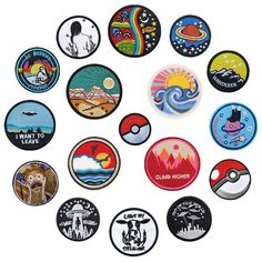 1 PCS Round UFO parches Embroidered Iron on Patches for Clothing DIY Motif Stripes Clothes Stickers Astronaut Badges Embroidery Patches, Embroidery Art, Pin And Patches, Iron On Patches, Patches Tumblr, Art Kits For Kids, Posca Art, Diamond Art, Aesthetic Stickers