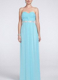 Nothing says fun quite like PROM! Turn it up a notch (or two!) in this strapless, long and flowing prom dress!   Beaded belt provides that extra bit of drama and flair you are looking for!  Strapless gown features ruching on bodice for the perfect amount of accent and detailing.  Back zip. Fully lined. Professional spot clean only.  Imported.   Available in Plus sizes as Style 8420DW3W.