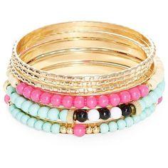 Robert Rose Beaded Bangle Bracelet Set (1,125 THB) ❤ liked on Polyvore featuring jewelry, bracelets, multi, beaded jewelry, beaded bangles, bracelets bangle, hinged bangle and hinged bracelet