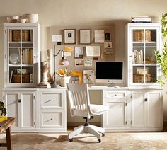 Logan Small Office Suite with Doors and Glass Towers, Antique White - Ideas for the House - Home Office Home Office Space, Small Office, Home Office Desks, Home Office Furniture, Office Decor, Furniture Design, Ikea Furniture, Office Ideas, Office Designs