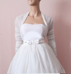 Bridal Weiß Tüll Bolero / Jacke /, 3/4 Ärmel Braut von Up to date auf DaWanda.com