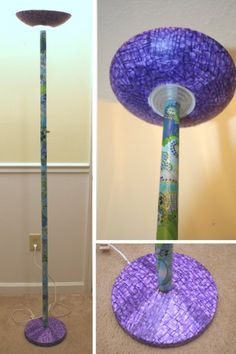 Mod Podge floor lamp. Wanna try with different colors for the play room