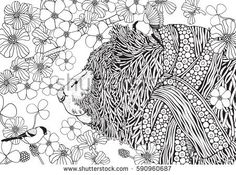 Cute Bear in knitted scarf. It's Spring. Coloring book page for adult and children. Zentangle and doodle patterns. Black and white monochrome background. A4 size.