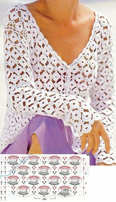 Crochet PATRÓN Puntada de circilos para blusas y jarseys a crochet y ganchillo. Black Crochet Dress, Crochet Tunic, Crochet Cardigan Pattern, Crochet Jacket, Freeform Crochet, Crochet Stitches Patterns, Crochet Clothes, Pull Crochet, Mode Crochet