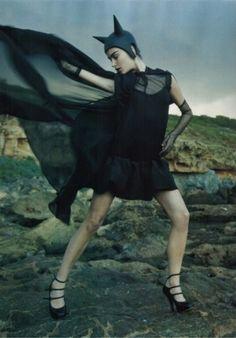 Marija Vujovic in The Dancing Sea for Vogue Japan, January 2007 Shot by Yelena Yemchuk Styled by Anastasia Barbieri Batgirl, Catwoman, Sea Photo, She Is Fierce, Like A Cat, Vogue Japan, Dark Fashion, Macabre, Wearing Black