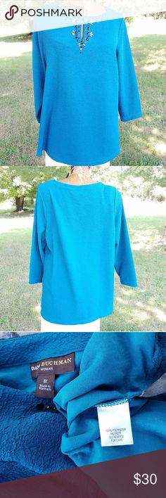 Dana Buchman Blouse Greenish teal color. Great condition. No rips, stains, or pilling. 100% polyester and fits true to size  Offers considered No trades Dana Buchman Tops