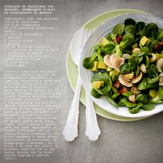 - VANIGLIA - storie di cucina: Dal menù d'amour di Aurélie: Insalata di valeriana con avocado, champignon e noci in vinaigrette di patate