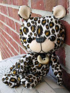 "leopard print faux fur Ankh kawaii mini artist teddy bear 9"" by Karen Knapp on Etsy, $60.00"