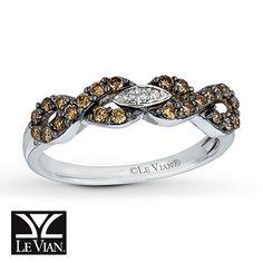 LeVian Chocolate Diamonds 3/8 carat Ring 14K Vanilla Gold...kay jewelers