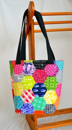 English Paper Pieced Hexi Bag tutorial using Charm Squares by Lori Holt at Lori H Designs