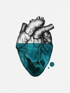 ☽ ☾ Sunken Heart Canvas by Luis Patino Heart Canvas, Heart Art, Art Sketches, Art Drawings, Heart Illustration, Landscape Illustration, Anatomy Art, Grafik Design, Art Inspo
