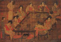 《宫乐图》唐 佚名 绢本设色 纵23.9厘米 横77.2厘米 台北故宫博物院藏
