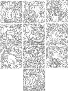 Advanced Embroidery Designs - Thanksgiving Redwork Quilting Block Set