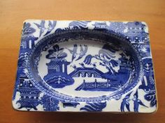 RARE ROYAL DOULTON JAM DISH :FLOW BLUE WILLOW PATT