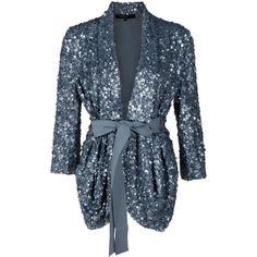 ELIE SAAB Tie Belt Sequin Jacket ($1,953) ❤ liked on Polyvore featuring outerwear, jackets, tops, cardigans, blazers, women, drape front jacket, tie belt, 3/4 sleeve jacket and sequin jacket