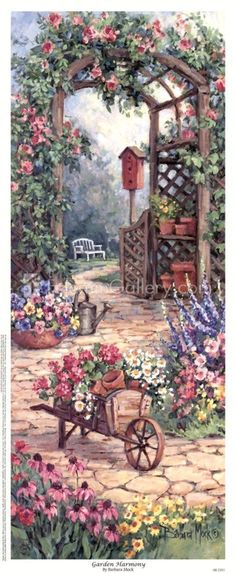 decopodge Garden Harmony by Barbara Mock: This Garden Harmony Fine Art Print and related works can be found at . Art Vintage, Vintage Drawing, Garden Painting, Garden Art, Dream Garden, Art Floral, Grafic Design, Graffiti Kunst, Cottage Art