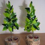 Juletræer i glas 2 stk håndlavede