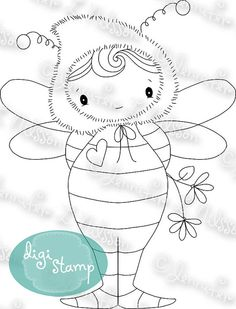 Little Bumble - digital stamp digistamp JPG PNG - fantasy bumble bee boy line art for crafting