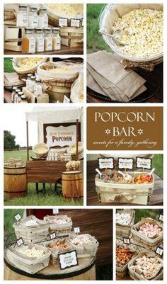 outdoor movie party ideas | popcorn bar outdoor movie night summer party