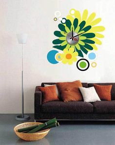 Dong-ho-mat-hoa-nhiem-mau Wall Clock Sticker, Interior Decorating, Wall Decor, Stickers, House, Inspiration, Home Decor, Decoration, Ideas