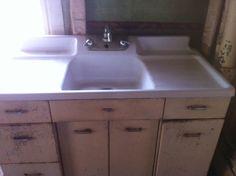 Vintage Crane Single Basin Double Drainboard Porcelain Over Cast ...