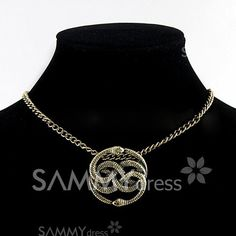 $3.57 Unique Winding Snakes Pendant Alloy Necklace For Women