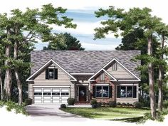 Cottage Style 1 story 3 bedrooms(s) House Plan with 1149 total square feet and 2 Full Bathroom(s) from Dream Home Source House Plans
