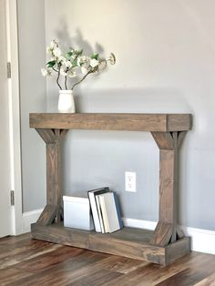 Narrow console table – Decor – Rustic furniture – Home decor – Diy furniture – Modern console – farmhouse furniture living room Decor, Furniture, Modern Furniture, Narrow Console Table, Rustic Furniture, Home Decor, Stained Table, Modern Console Tables, Wood Furniture