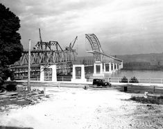 Pattullo Bridge nearing completion, Premier Thomas Dufferin Pattullo officially opened the bridge Nov. Vancouver Island, Local History, History Facts, November Events, Fraser River, Bridge Construction, New West, Historical Pictures