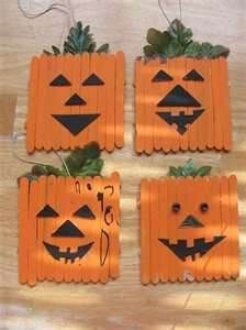Popsicle Stick Pumpkin- All you really need is paint, Popsicle sticks, and leaves!