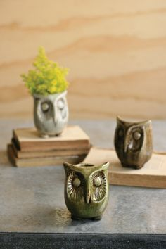 set of three ceramic owl planters   $49.00