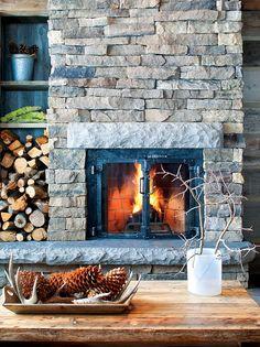 51 Ideas Fireplace Wood Storage Diy Built Ins For 2019 Cabin Fireplace, Fireplace Built Ins, Fireplace Design, Fireplace Ideas, Stacked Stone Fireplaces, Rustic Fireplaces, Bad Gastein, Diy Mantel, Wood Mantle