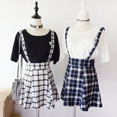 Gingham Suspender Skirt