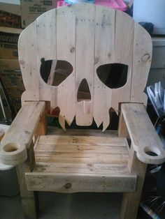 Wooden Pirate Vampire Skull Chair Throne by R4repurposed on Etsy