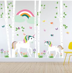 Unicorn rainbow wall decal with trees, flowers and butterflies. Butterfly Tree, Rainbow Butterfly, Butterflies, Rainbow Wall Decal, Unicorn Wall Decal, Nursery Wall Decals, Vinyl Wall Decals, Rainbow Nursery Decor, Tree Decals